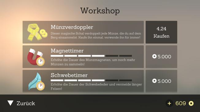 Im Workshop werden euch nützliche Items angeboten, außerdem könnt ihr Münzen verdienen, indem ihr Werbevideos schaut. (Credits: Screenshot)