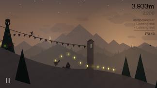 Im Sonnenuntergang ist die Atmosphäre von Alto's Adventure am stimmigsten. (Credits: Screenshot)
