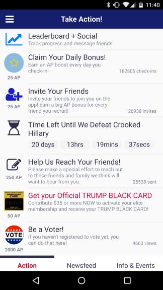 So viele Möglichkeiten, Trump zu unterstützen - der Spielumfang ist bei America First wirklich enorm! (Credits: Screenshot)